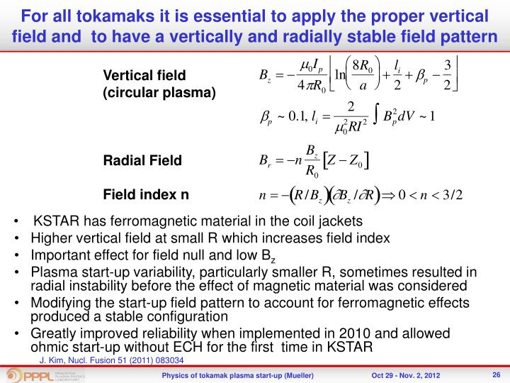 For all tokamaks it is essential to apply the proper vertical field and  to have a vertically and