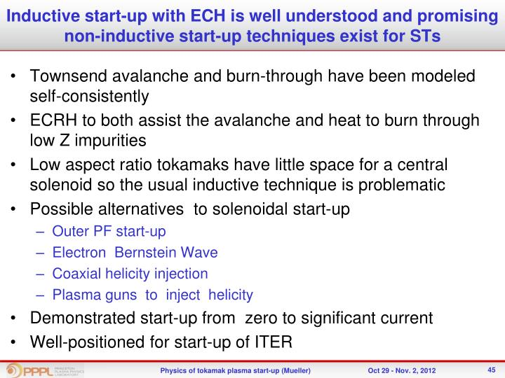 Inductive start-up with ECH is well understood and promising non-inductive start-up techniques exist for