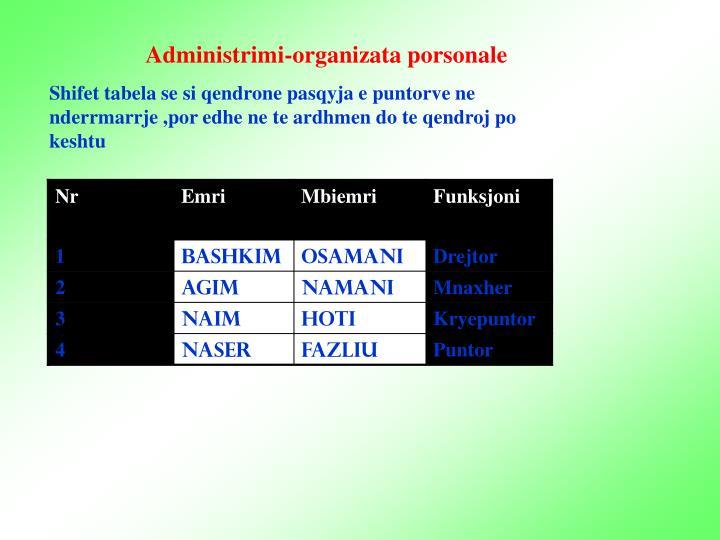 Administrimi-organizata