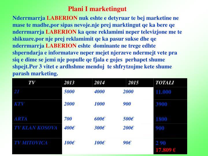 Plani I marketingut