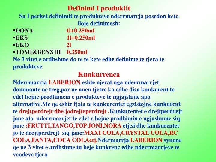 Definimi I produktit