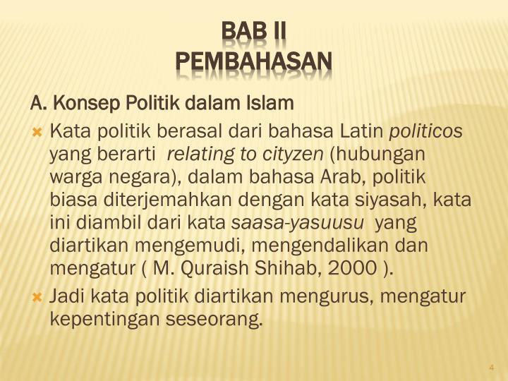 A. Konsep Politik dalam Islam