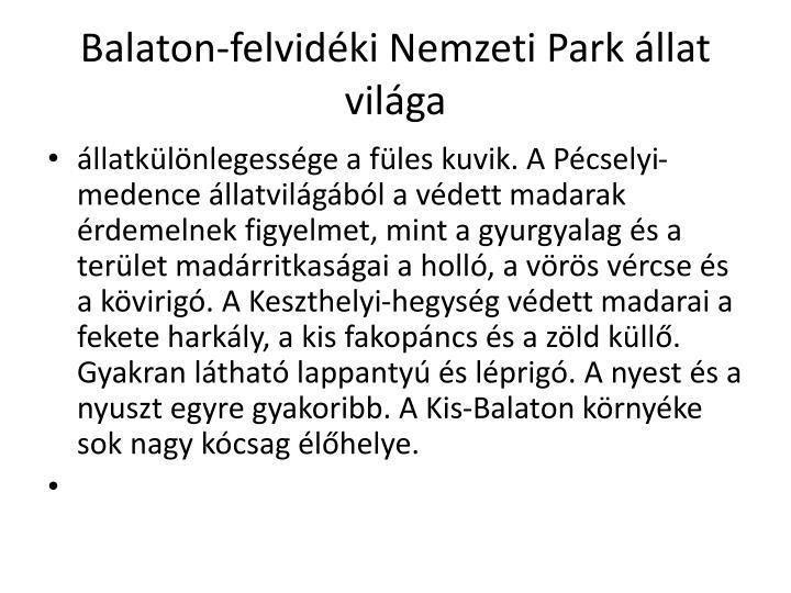 Balaton-felvidéki Nemzeti Park állat világa
