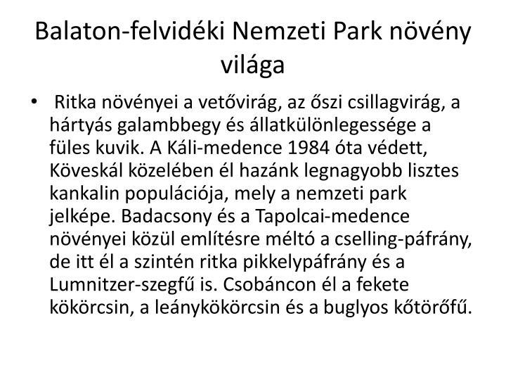 Balaton-felvidéki Nemzeti Park növény világa