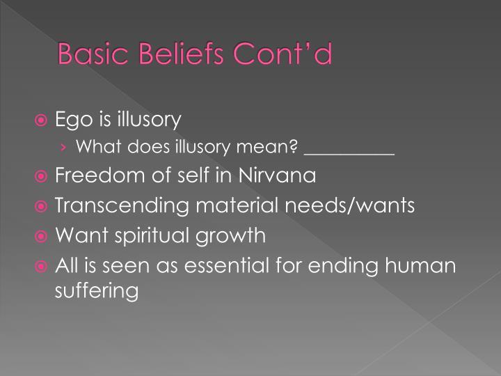 Basic Beliefs Cont'd