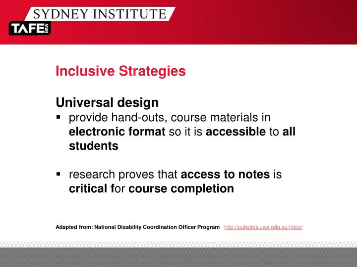 Inclusive Strategies