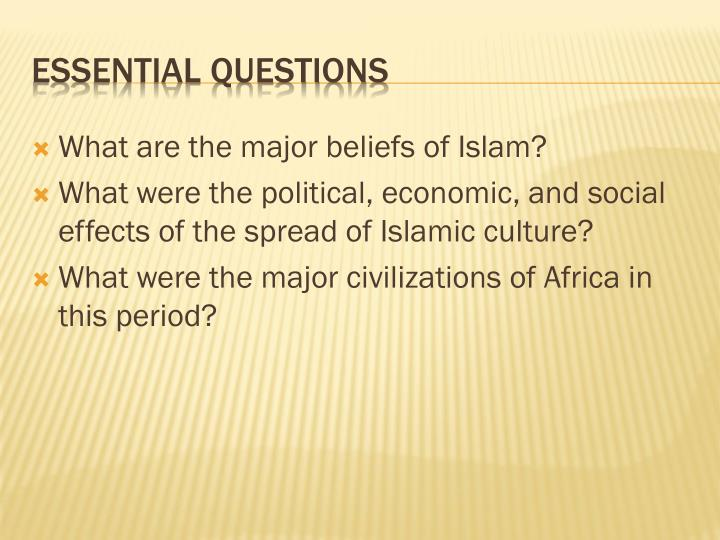 What are the major beliefs of Islam?