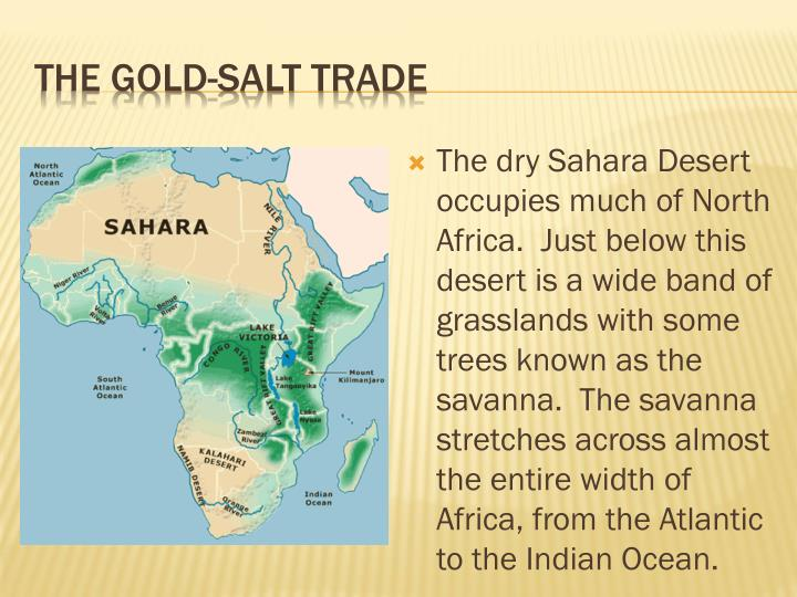 The dry Sahara Desert occupies much of North Africa.  Just below this desert is a wide band of grasslands with some trees known as the savanna.  The savanna stretches across almost the entire width of Africa, from the Atlantic to the Indian Ocean.