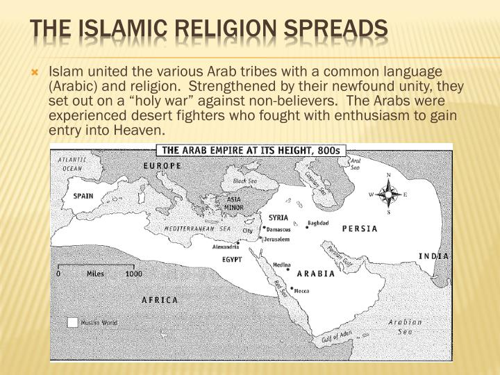 "Islam united the various Arab tribes with a common language (Arabic) and religion.  Strengthened by their newfound unity, they set out on a ""holy war"" against non-believers.  The Arabs were experienced desert fighters who fought with enthusiasm to gain entry into Heaven."