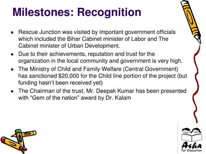 Milestones: Recognition