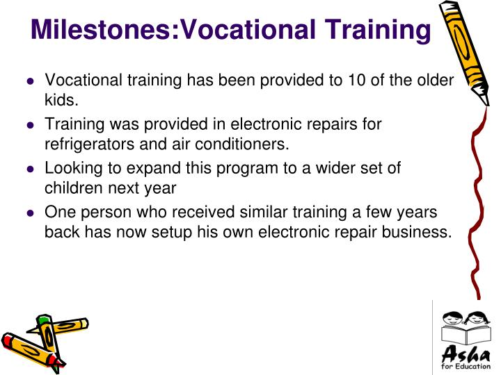 Milestones:Vocational