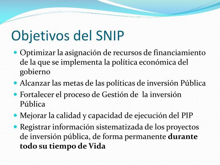 Objetivos del SNIP