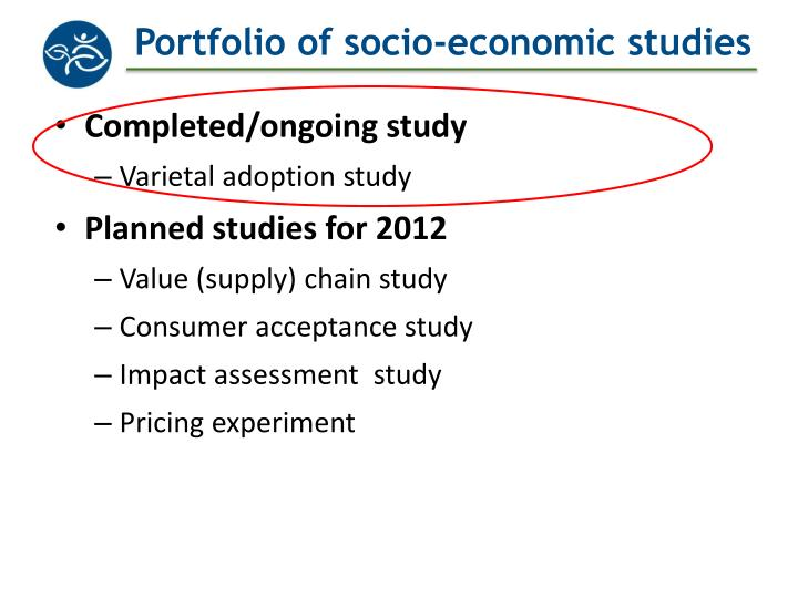 Portfolio of socio economic studies
