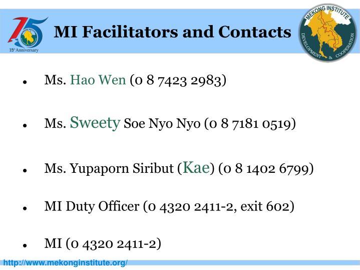 MI Facilitators and Contacts