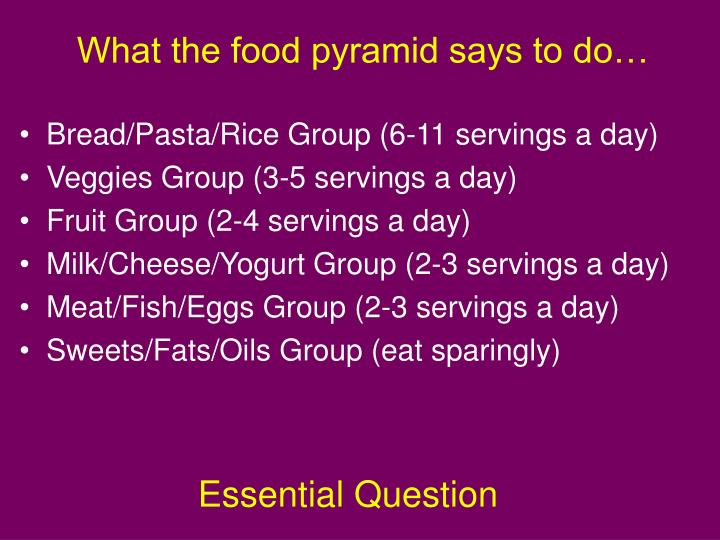 What the food pyramid says to do…