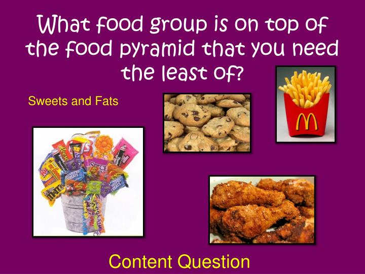 What food group is on top of the food pyramid that you need the least of?