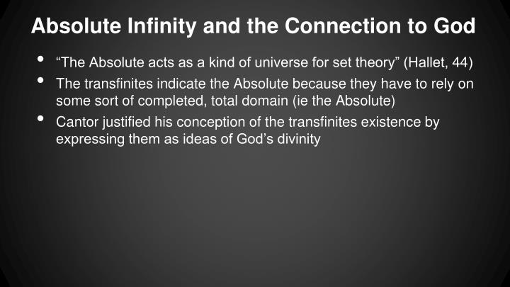 Absolute Infinity and the Connection to God