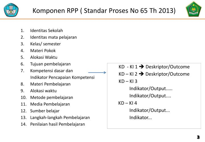 Komponen rpp standar proses no 65 th 2013