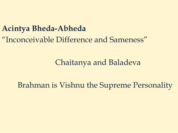 Acintya Bheda-Abheda