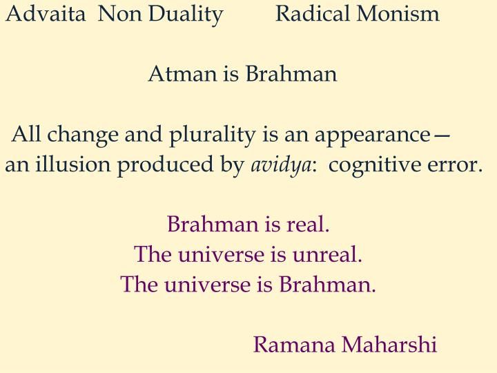 Advaita  Non Duality         Radical Monism