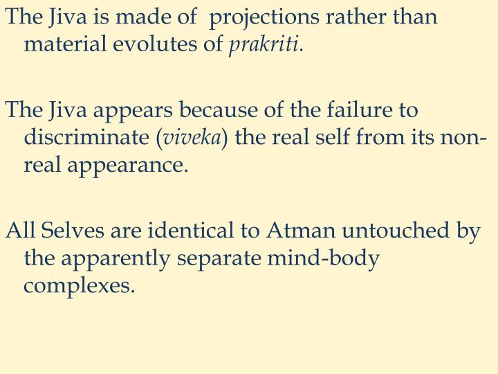 The Jiva is made of  projections rather than material evolutes of