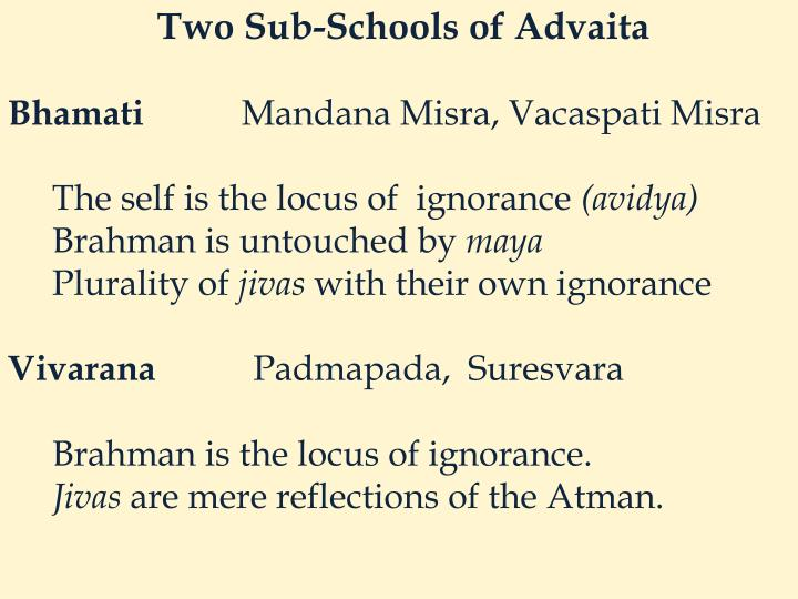Two Sub-Schools of Advaita