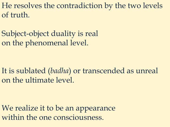 He resolves the contradiction by the two levels of truth.