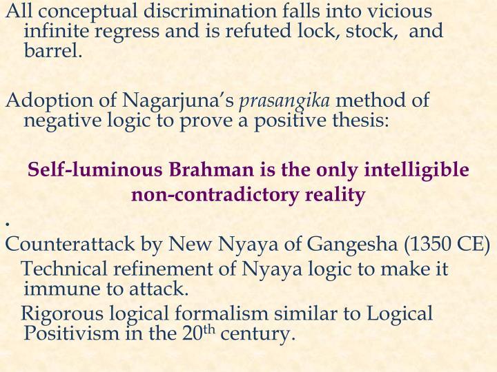 All conceptual discrimination falls into vicious infinite regress and is refuted lock, stock,  and barrel.