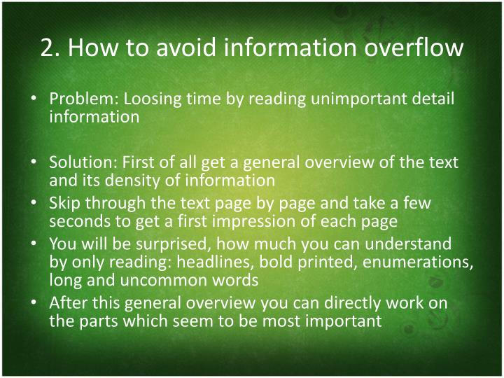 2. How to avoid information overflow
