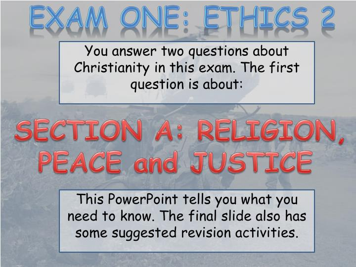 EXAM ONE: ETHICS 2