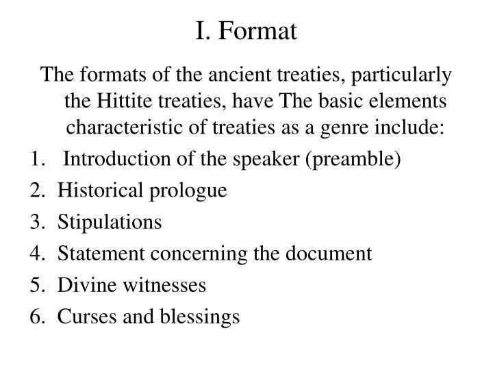 I. Format
