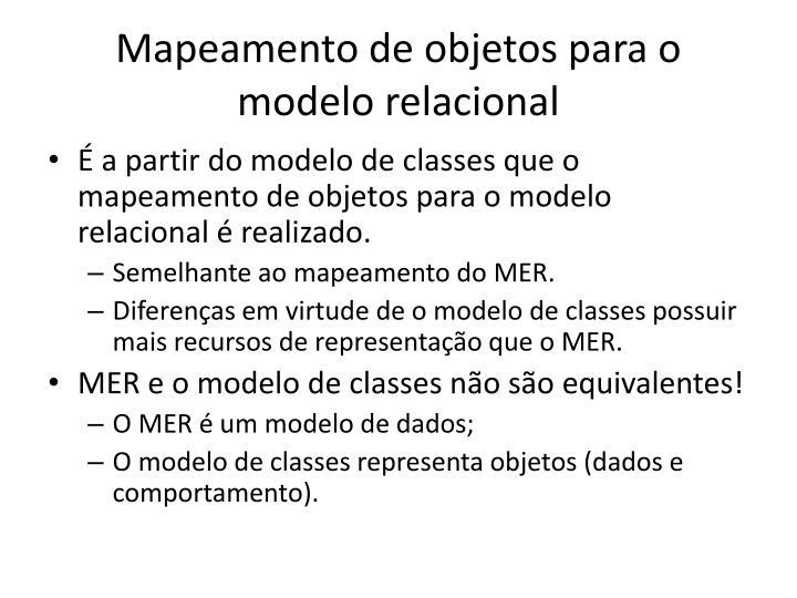 Mapeamento de objetos para o modelo relacional