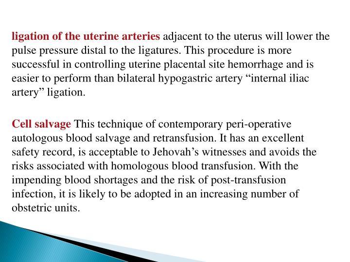 ligation of the uterine arteries