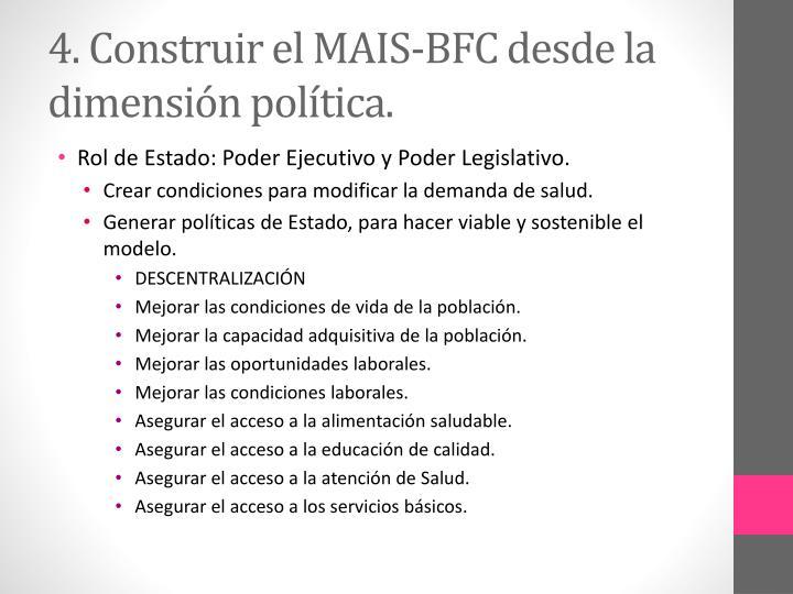 4. Construir el MAIS-BFC desde la dimensión política.
