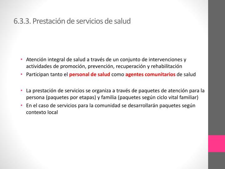 6.3.3. Prestación de servicios de salud