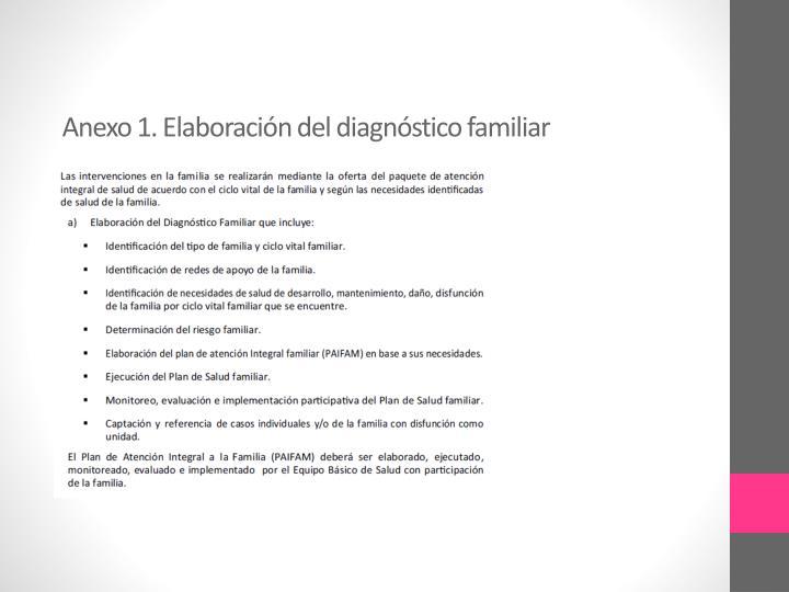 Anexo 1. Elaboración del diagnóstico familiar