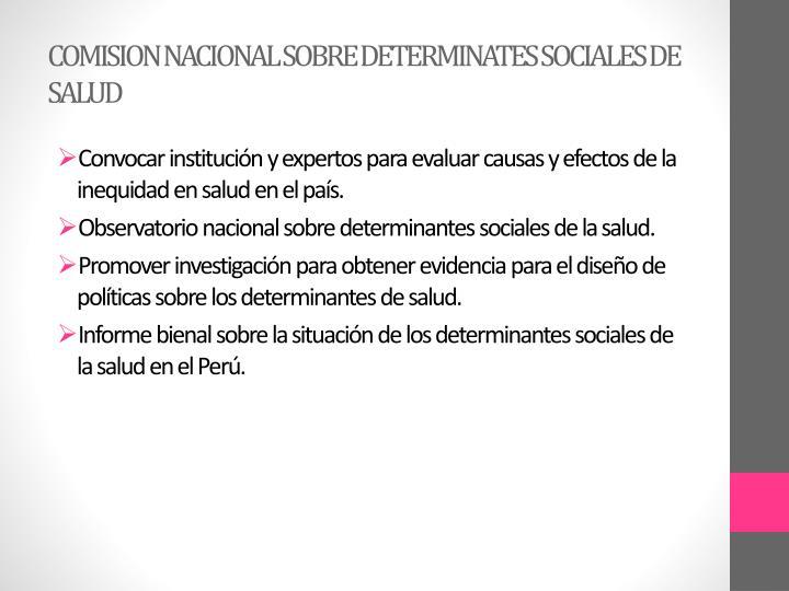 COMISION NACIONAL SOBRE DETERMINATES SOCIALES DE SALUD