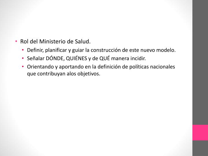 Rol del Ministerio de Salud.