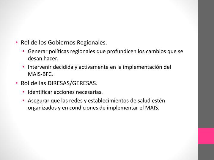 Rol de los Gobiernos Regionales.
