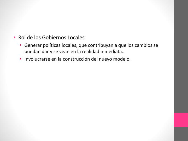 Rol de los Gobiernos Locales.