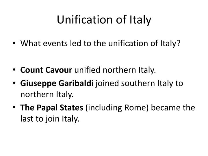 cavour in the unification of italy Italian unification (called in italian the there is no especial reason to think that cavour now envisaged the unification of the rest of italy under.