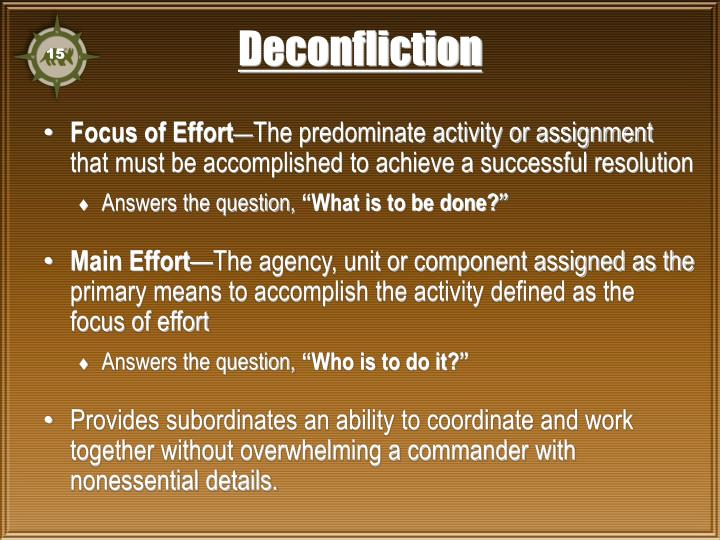 Deconfliction