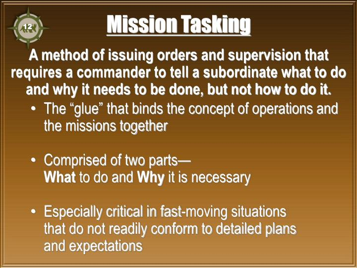 Mission Tasking