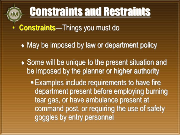 Constraints and Restraints
