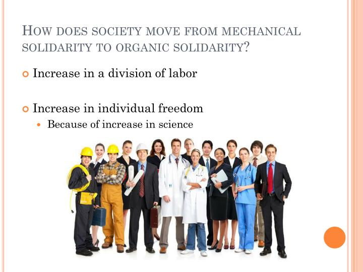 How does society move from mechanical solidarity to organic solidarity?