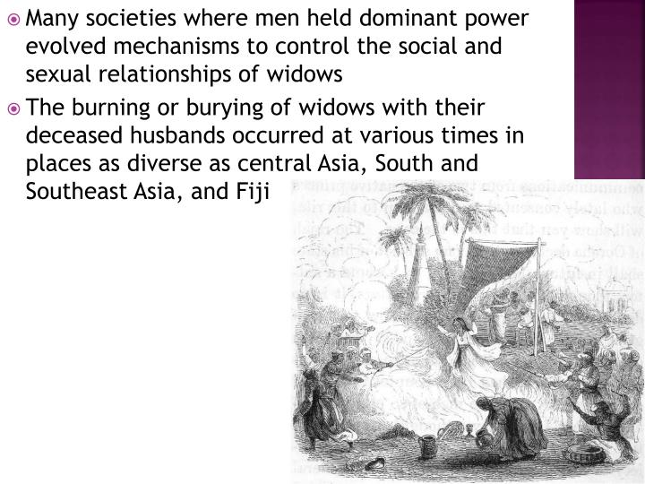 Many societies where men held dominant power evolved mechanisms to control the social and sexual relationships of widows