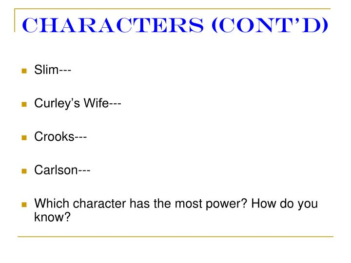Characters (cont'd)