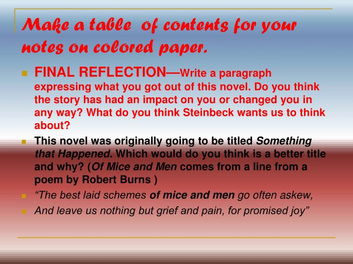 Make a table  of contents for your notes on colored paper.