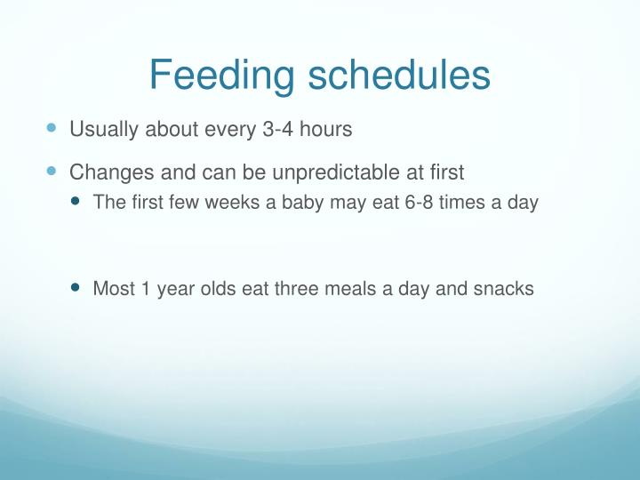 Feeding schedules