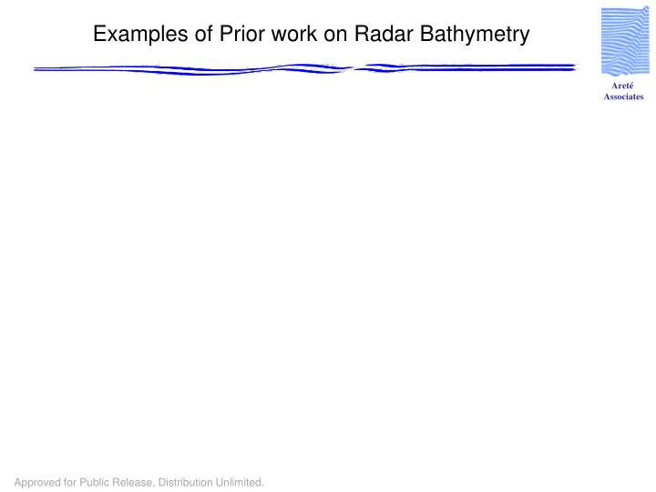 Examples of Prior work on Radar Bathymetry